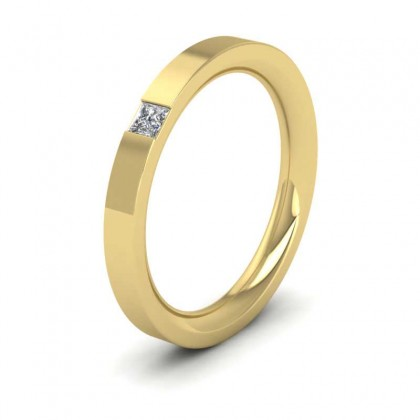 18ct Yellow Gold 2.5mm Flat Court Shape Single Stone Diamond Wedding Ring