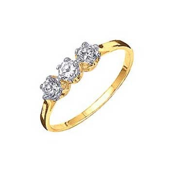 18ct Yellow Gold 0.3ct Trilogy Brilliant Cut Diamond Ring