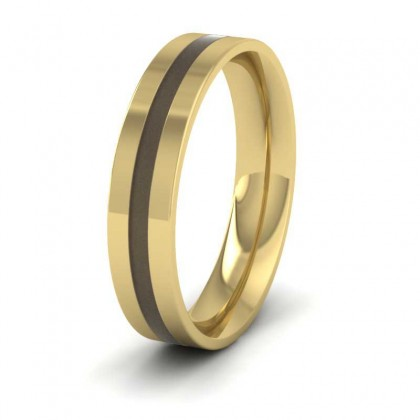 18ct Yellow Gold 5mm Flat Court Shape Enamelled Wedding Ring