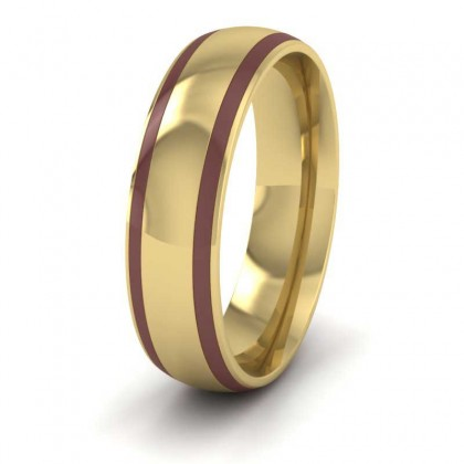 18ct Yellow Gold 6mm Court Shape Enamelled Wedding Ring