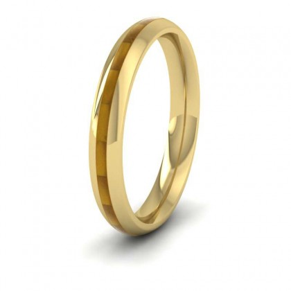 18ct Yellow Gold 3mm Court Shape Enamelled Wedding Ring