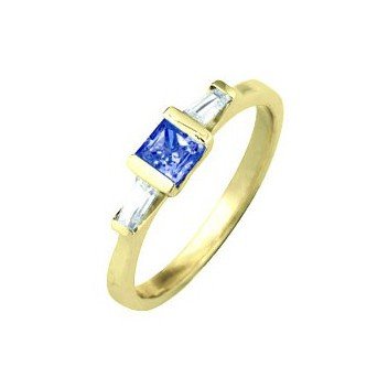18ct Yellow Gold Three Stone 0.5ct Blue Sapphire and 0.24ct Diamond Ring