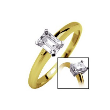 18ct Yellow and White Gold Emerald Cut 0.25ct Diamond Solitaire Ring