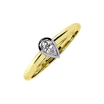 18ct Yellow and White Gold 0.3ct Pear Cut Diamond Solitaire Ring
