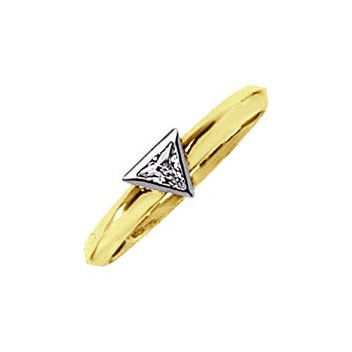 18ct Yellow and White Gold 0.2ct Trillion Cut Diamond Solitaire Ring