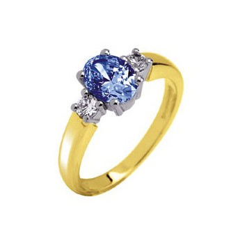 18ct Yellow and White Gold Three Stone 1.0ct Oval Ceylon Blue Sapphire and 0.2ct Diamond Ring
