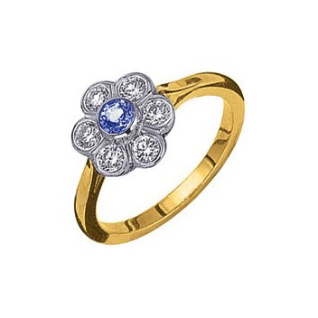 18ct yellow and white cluster gold ring set with a centre blue sapphire and six brilliant cut diamonds