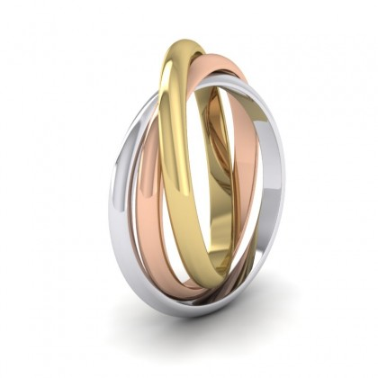 18ct Yellow, White and Rose Gold 2mm 'D' Shape Three Colour Wedding Ring