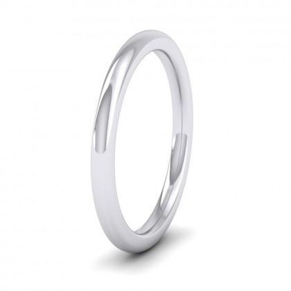 500 Palladium 2mm Cushion Court Shape (Comfort Fit) Super Heavy Weight Wedding Ring