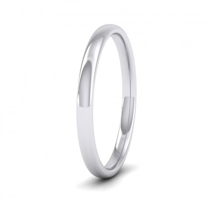 500 Palladium 2mm Cushion Court Shape (Comfort Fit) Classic Weight Wedding Ring