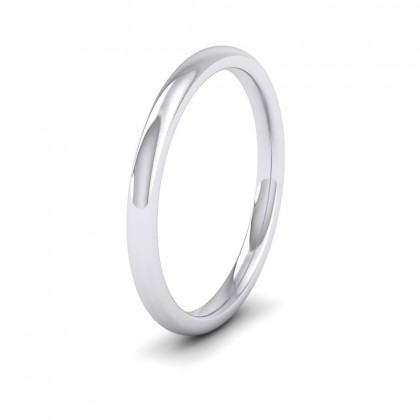 500 Palladium 2mm Cushion Court Shape (Comfort Fit) Extra Heavy Weight Wedding Ring