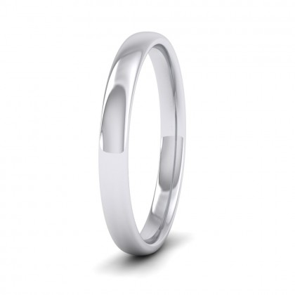 500 Palladium 2.5mm Cushion Court Shape (Comfort Fit) Classic Weight Wedding Ring