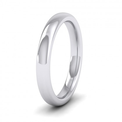 500 Palladium 3mm Cushion Court Shape (Comfort Fit) Super Heavy Weight Wedding Ring