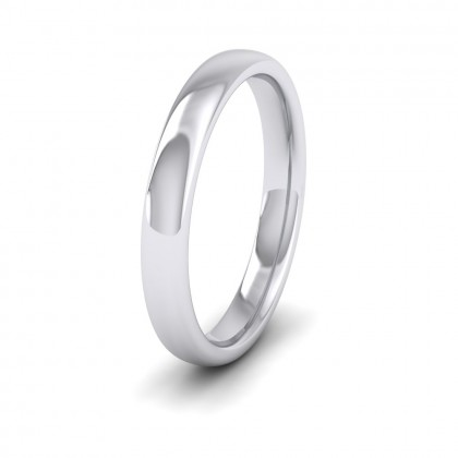 500 Palladium 3mm Cushion Court Shape (Comfort Fit) Extra Heavy Weight Wedding Ring