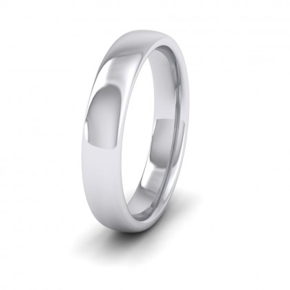 500 Palladium 4mm Cushion Court Shape (Comfort Fit) Extra Heavy Weight Wedding Ring