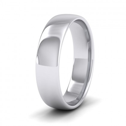 500 Palladium 5mm Cushion Court Shape (Comfort Fit) Classic Weight Wedding Ring
