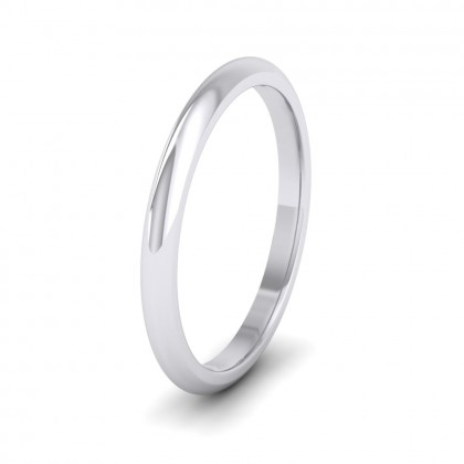 500 Palladium 2mm 'D' Shape Extra Heavy Weight Wedding Ring