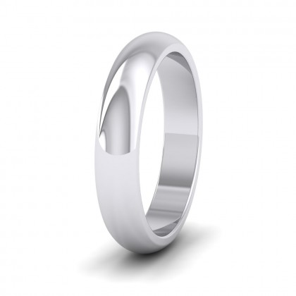 500 Palladium 4mm 'D' Shape Super Heavy Weight Wedding Ring