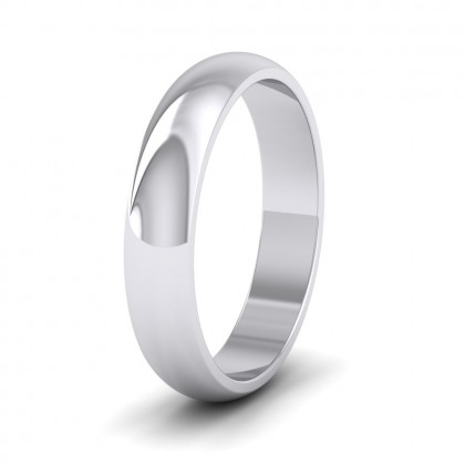 500 Palladium 4mm 'D' Shape Extra Heavy Weight Wedding Ring