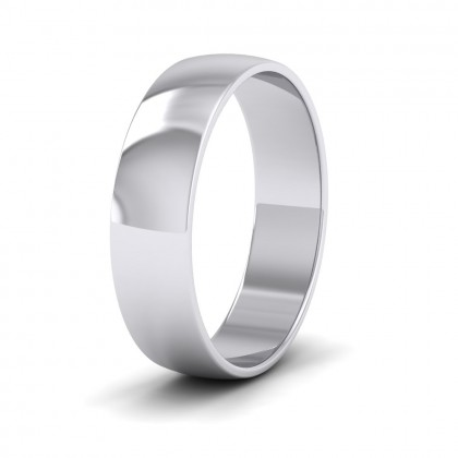 500 Palladium 5mm 'D' Shape Classic Weight Wedding Ring