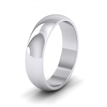 500 Palladium 5mm 'D' Shape Extra Heavy Weight Wedding Ring