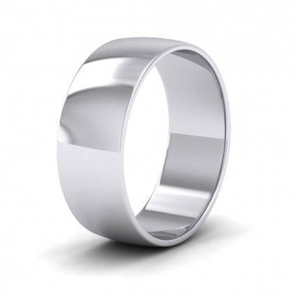 500 Palladium 7mm 'D' Shape Classic Weight Wedding Ring