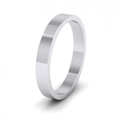 500 Palladium 3mm Flat Shape Extra Heavy Weight Wedding Ring