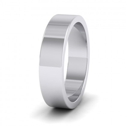 500 Palladium 5mm Flat Shape Super Heavy Weight Wedding Ring