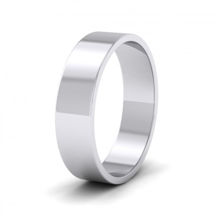 500 Palladium 5mm Flat Shape Classic Weight Wedding Ring