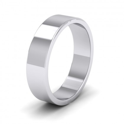 500 Palladium 5mm Flat Shape Extra Heavy Weight Wedding Ring