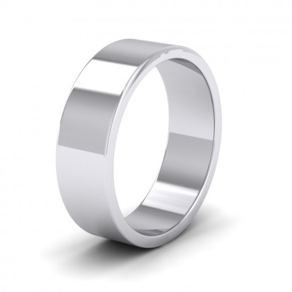 500 Palladium 6mm Flat Shape Extra Heavy Weight Wedding Ring