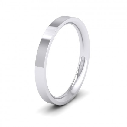 500 Palladium 2.5mm Flat Shape (Comfort Fit) Extra Heavy Weight Wedding Ring