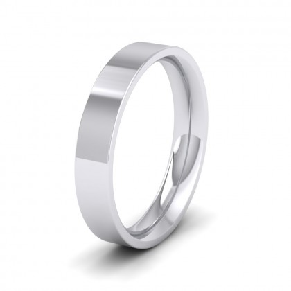 500 Palladium 4mm Flat Shape (Comfort Fit) Extra Heavy Weight Wedding Ring