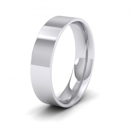 500 Palladium 5mm Flat Shape (Comfort Fit) Classic Weight Wedding Ring