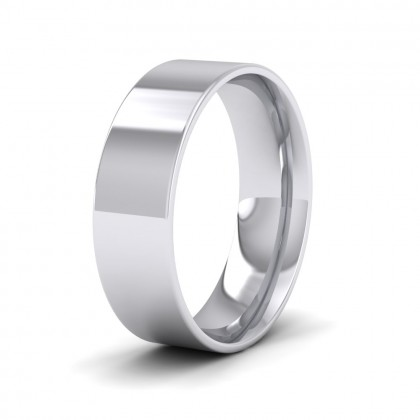500 Palladium 6mm Flat Shape (Comfort Fit) Classic Weight Wedding Ring