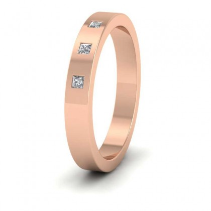 9ct Rose Gold 3mm Flat Shape Three Stone Diamond Wedding Ring