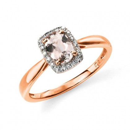 9ct rose gold dress ring set with diamond (0.07ct) and morganite.