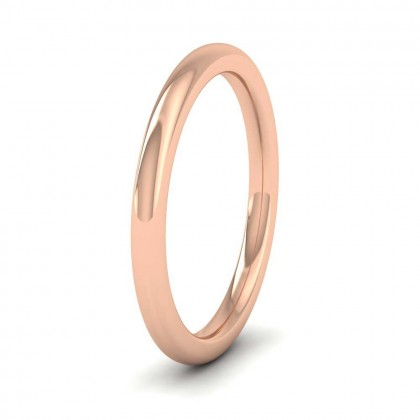 9ct Rose Gold 2mm Cushion Court Shape (Comfort Fit) Super Heavy Weight Wedding Ring