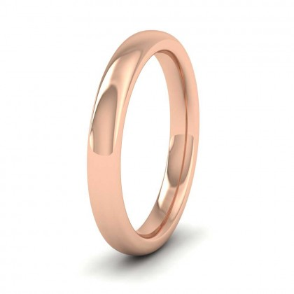 9ct Rose Gold 3mm Cushion Court Shape (Comfort Fit) Super Heavy Weight Wedding Ring