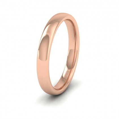 9ct Rose Gold 3mm Cushion Court Shape (Comfort Fit) Extra Heavy Weight Wedding Ring