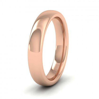 9ct Rose Gold 4mm Cushion Court Shape (Comfort Fit) Super Heavy Weight Wedding Ring