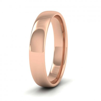 9ct Rose Gold 4mm Cushion Court Shape (Comfort Fit) Classic Weight Wedding Ring