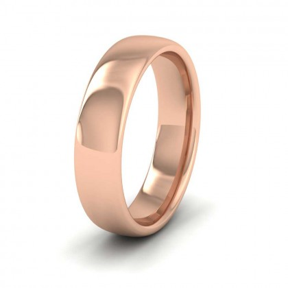 9ct Rose Gold 5mm Cushion Court Shape (Comfort Fit) Extra Heavy Weight Wedding Ring