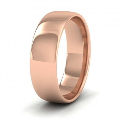 9ct Rose Gold 6mm Cushion Court Shape (Comfort Fit) Classic Weight Wedding Ring