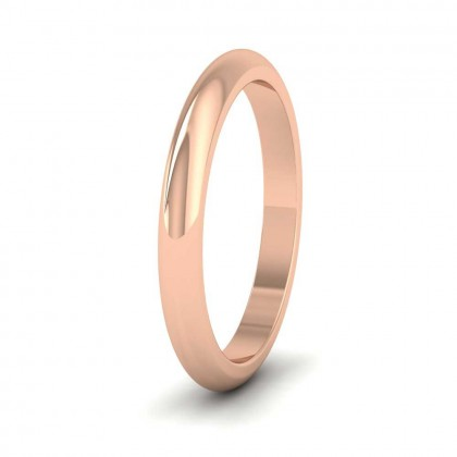 9ct Rose Gold 2.5mm 'D' Shape Super Heavy Weight Wedding Ring
