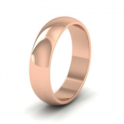 9ct Rose Gold 5mm 'D' Shape Extra Heavy Weight Wedding Ring