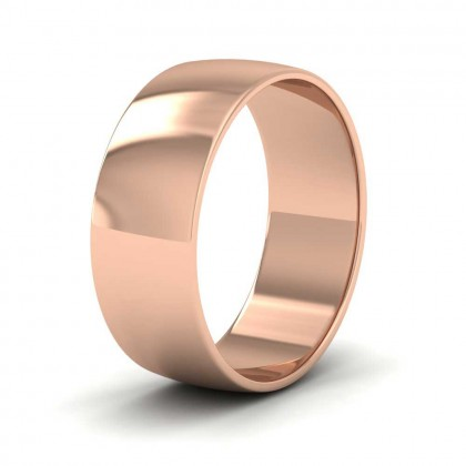 9ct Rose Gold 7mm 'D' Shape Classic Weight Wedding Ring