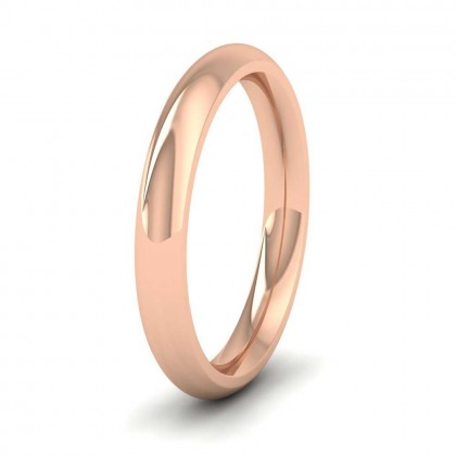 9ct Rose Gold 3mm Court Shape (Comfort Fit) Super Heavy Weight Wedding Ring