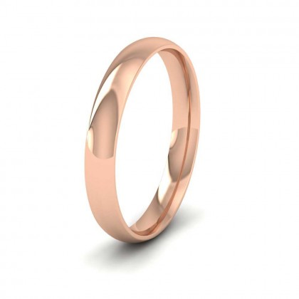 9ct Rose Gold 3mm Court Shape (Comfort Fit) Classic Weight Wedding Ring