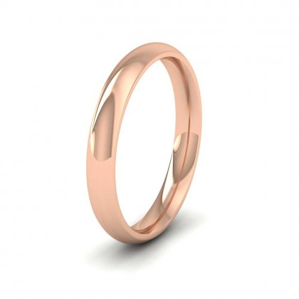 9ct Rose Gold 3mm Court Shape (Comfort Fit) Extra Heavy Weight Wedding Ring
